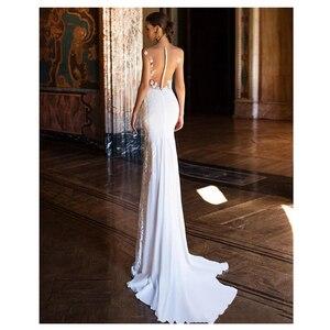 Image 2 - Женское свадебное платье с юбкой годе, сексуальное кружевное платье с аппликацией и прозрачной спиной, пляжные свадебные платья, 2019