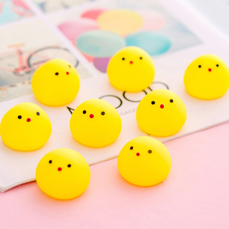 2/5Pcs Novelty Cartoon Bath Toys Creative Lovely Chick Squeaky Toys Stress Relieve Toys