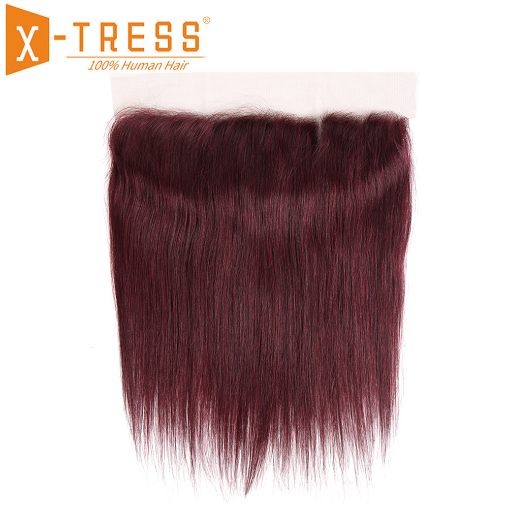 Human Hair 13X4 Lace Frontal With Baby Hair X-TRESS 99J Red Color Straight Brazilian Non-Remy Hair Lace Closure Middle/Free Part