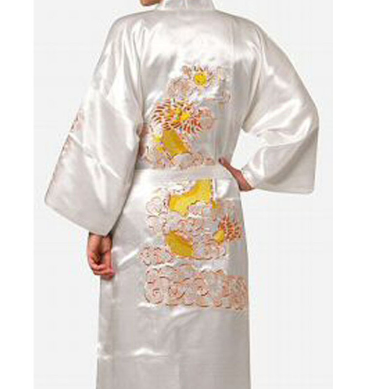 Image 4 - Free Shipping Navy Blue Chinese Men's Satin Silk Robe Embroidery Kimono Bath Gown Dragon Size S M L XL XXL XXXL S0008-in Robes from Underwear & Sleepwears on AliExpress