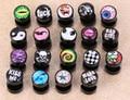 1 pair free shipping fake ear plugs ear studs earrings for girls logo print anti-allergic piercing jewelrys