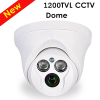 Freeshipping 1200TVL CCTV Camera Analog Indoor Chamber 1 3 CCD 2pcs Leds Dome Camera CCTV System