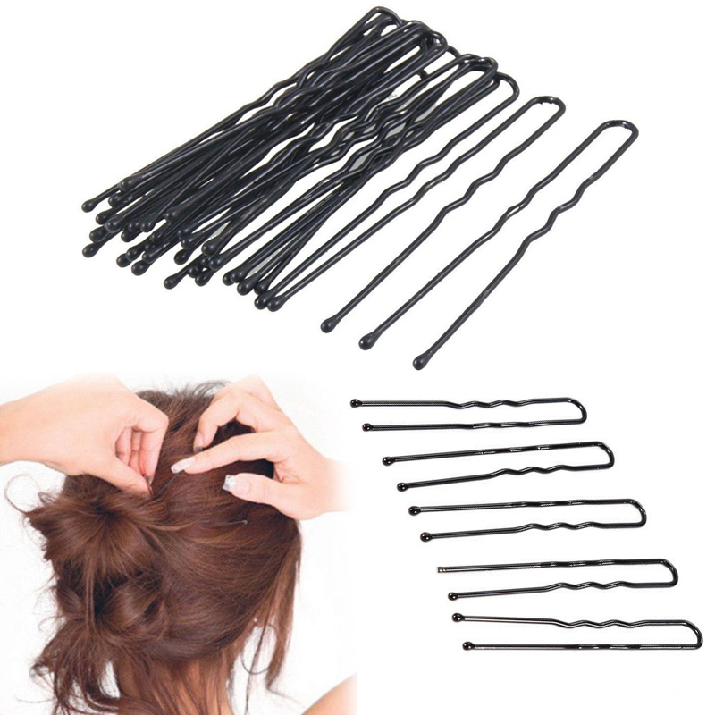 100Pcs/Pack Bobby Pins For Women Girls Hairpins Black Gold U-shaped Hair Clips Barrette 4.5cm 6cm Metal Plated Brown Ripple Pins