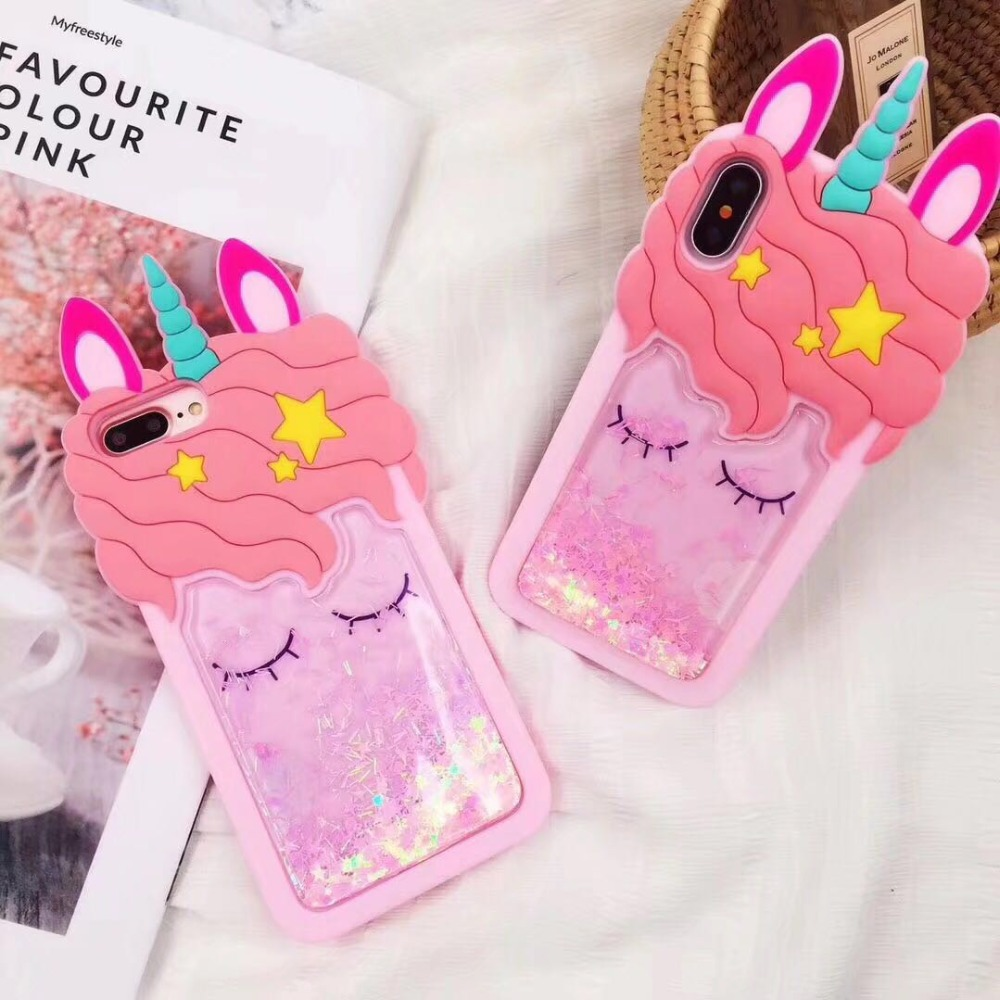 For IPhone X 7 8 Plus XR XS Max Case 3D Cute Cartoon Liquid Quicksand Horse Cases For