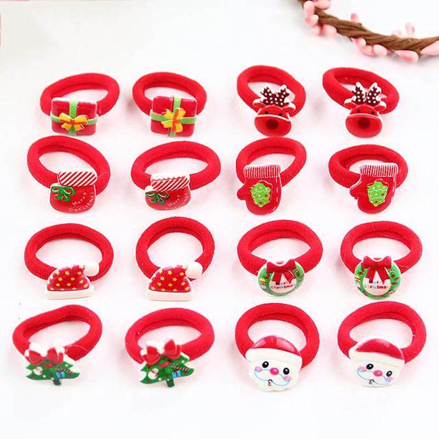 2PCS/ Pairs Of Fashion Girls Lovely  Popular Christmas Hair Strings Snowman  Children's Elastic Hair Adornment 1