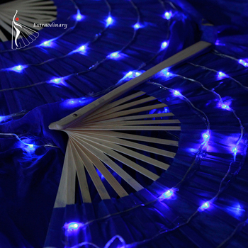 New Women Belly Dance LED Fans Performance Level Hand Prop Light up Flashed Lights Shiny Pleated Festival Carnival