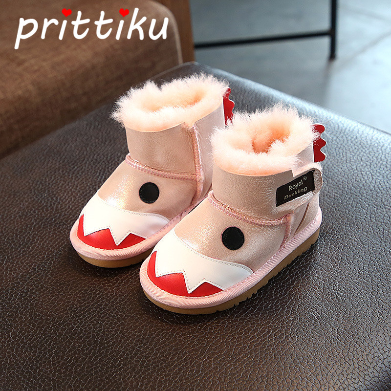 Baby Toddler Boys Girls Sheepskin Fur Snow Boots Little Kids Monster Design Winter Warm Booties Children Pink Fashion Cute Shoes snow toddler fur warm boots soft mid calf kids booties waterproof baby winter pink shoes little girls boys infant boot kt902