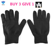 1/Pair Black Working Safety Gloves Cut-Resistant Protective Stainless Steel Wire Butcher Anti-Cutting Gloves