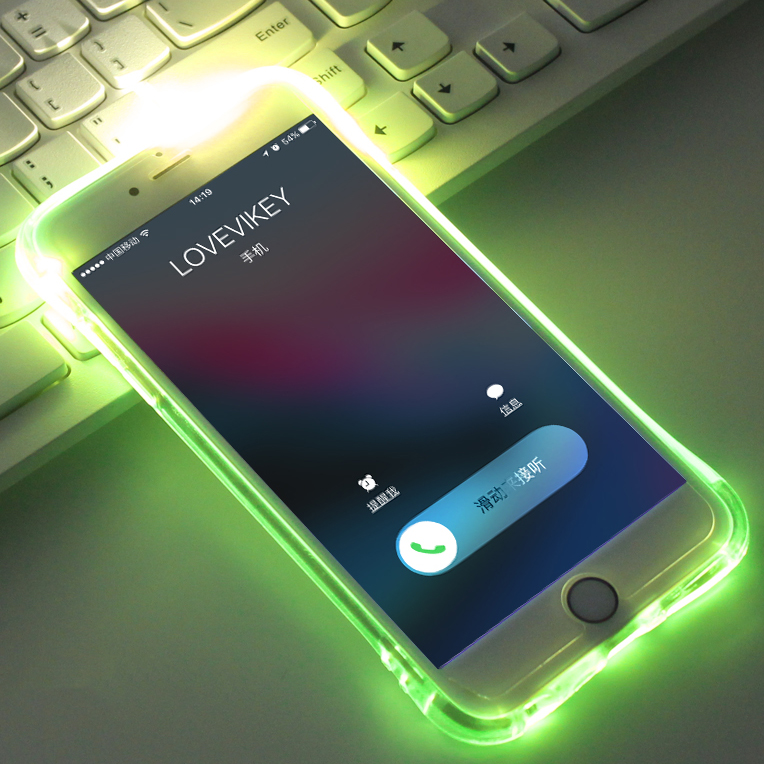 LED Flash TPU <font><b>Case</b></font> For <font><b>iPhone</b></font> X XS XR XS Max <font><b>Cases</b></font> Transparent <font><b>Luminous</b></font> Back Cover For <font><b>iPhone</b></font> 5 5s <font><b>6</b></font> 6S 7 8 Plus Remind incoming image