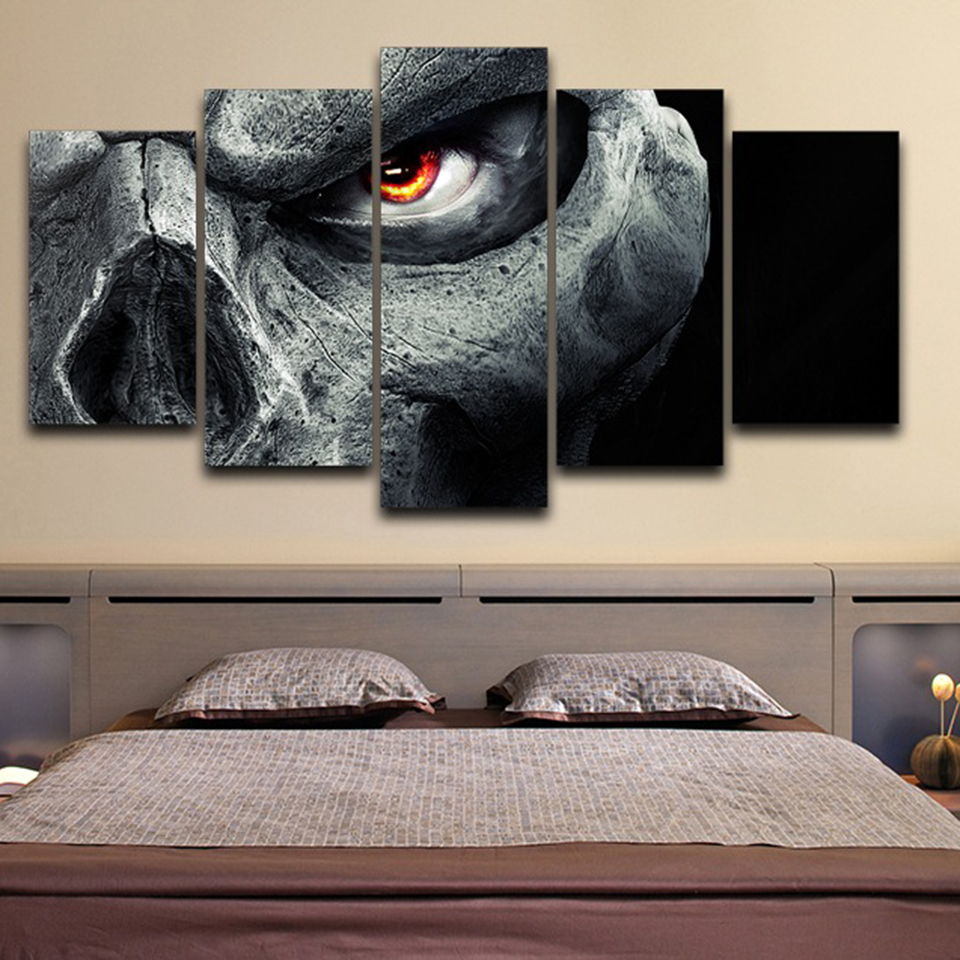 Modular Pictures Living Room Or Bedroom HD Printed Canvas 5 Pieces Skull Eye Painting Home Decor Game Poster Wall Art Framework