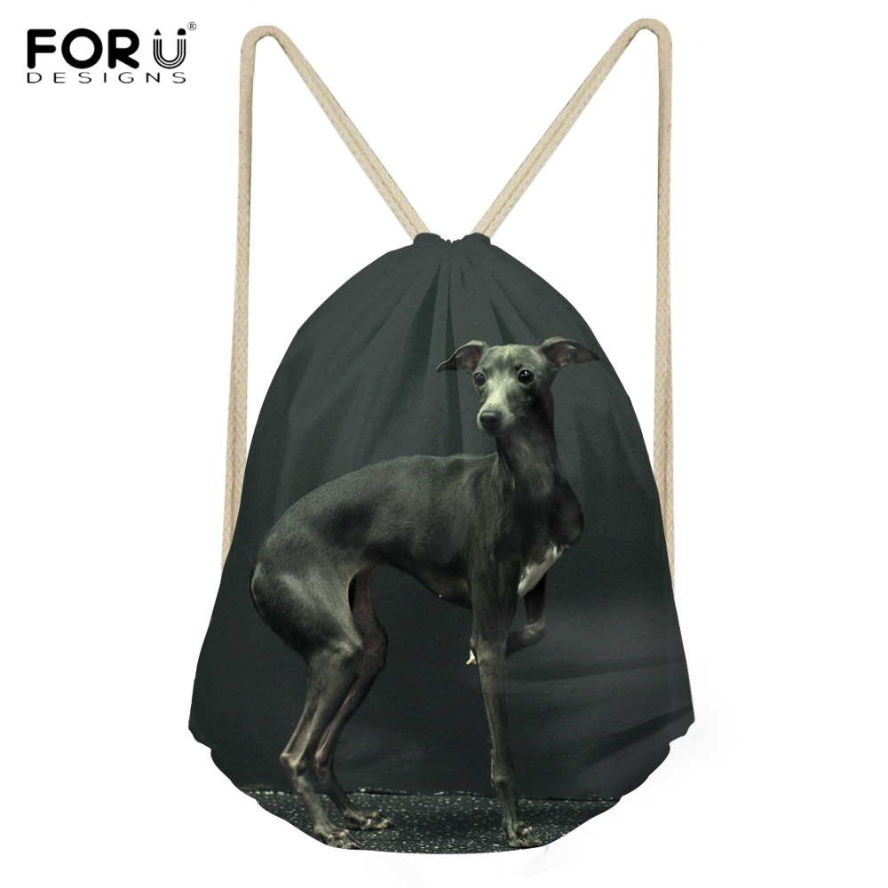 FORUDESIGNS Cute 3D Animal Italian Greyhound Printed Women Men Drawstrings Bags Casual Travel Beach Sack Bags Softback Backpacks
