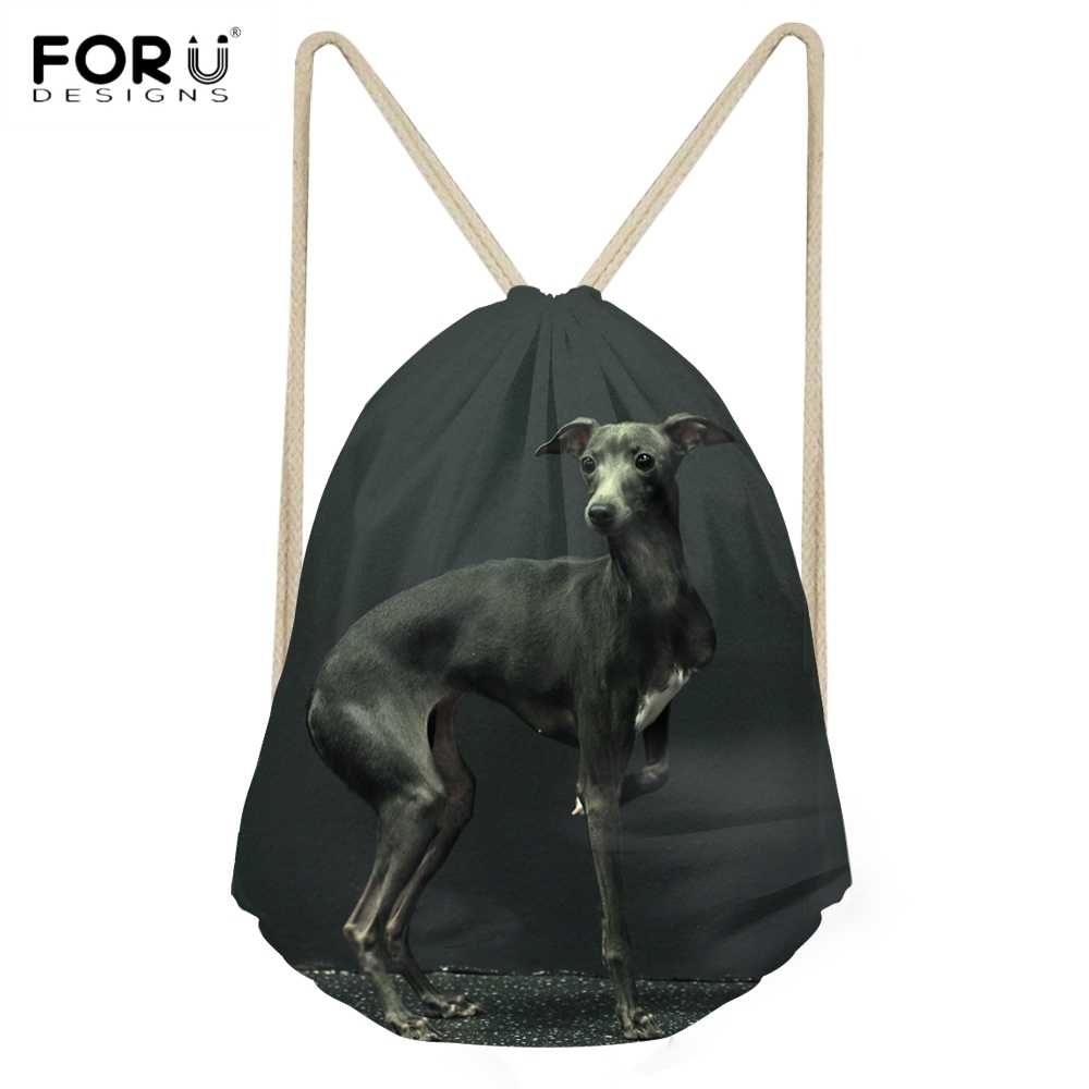 FORUDESIGNS Cute 3D Animal italiano Greyhound impreso mujeres hombres Drawstrings bolsas Casual viaje playa saco bolsas Softback mochilas