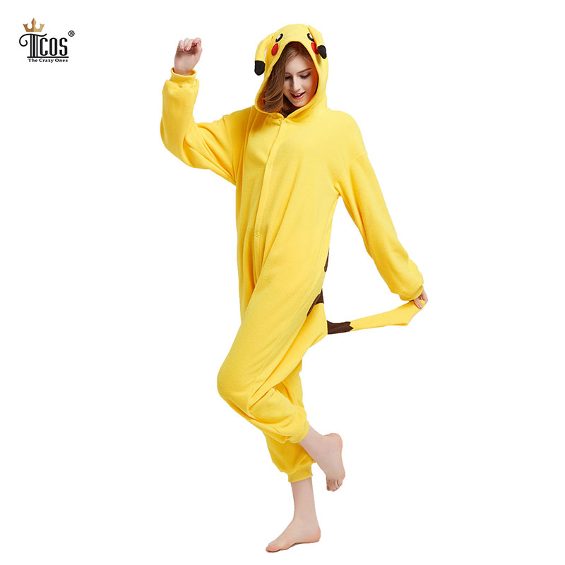 Pikachu Onesie Woman Pajamas Cartoon Flannel Cosplay Footed Pyjamas For Adults Sleeapwear Hooded Homewear Cute Animal Pajamas ...