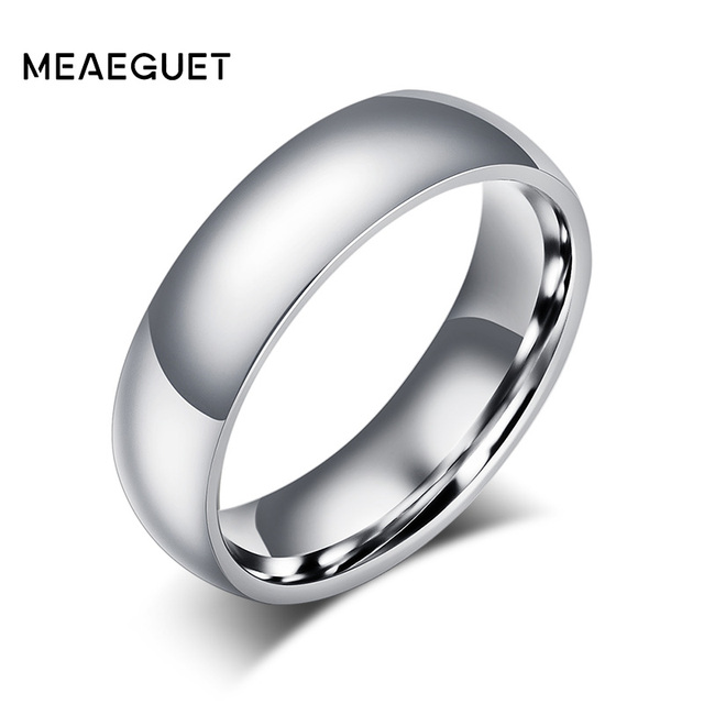 Meaeguet 6mm Simple Classic Wedding Rings Silver Color Stainless Steel Engagemen