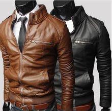 New Style Men's Solid Leather Jacket Coat  zipper Mandarin Collar Men's Fashion Slim PU Leather Jacket  Fur Clothing With Pocket
