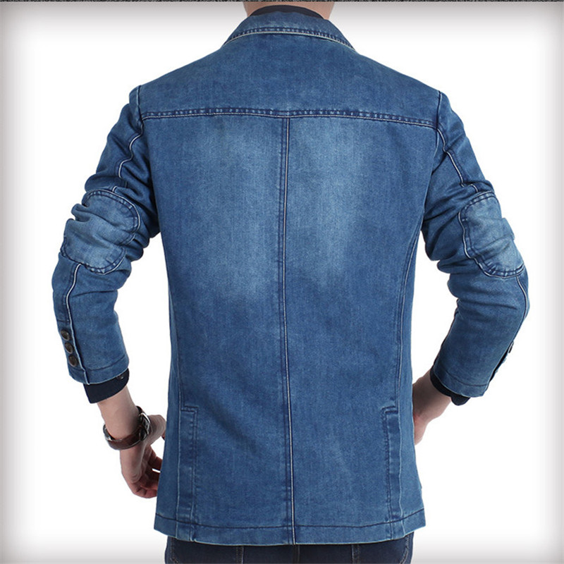 Aismz New Autumn Winter Blazer Men Cotton Denim Smart Casual Men