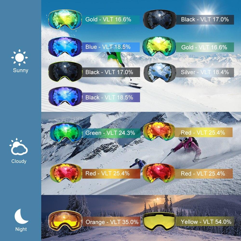 COPOZZ marque ski lunettes 2 couche lentille anti-brouillard UV400 jour et nuit sphérique lunettes de snowboard hommes femmes ski neige lunettes Set - 5