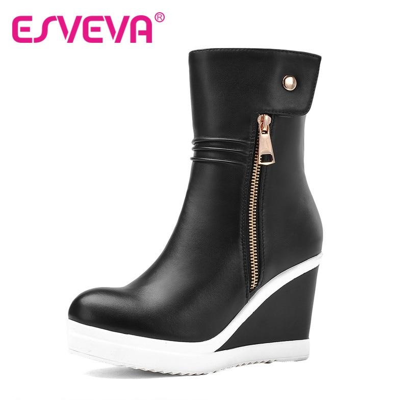 ФОТО ESVEVA Wedge High Heels Girl Fashion Boots Round Toe Zip Mixed Color Platform Mid Calf Short Plush Winter Women Shoes Black