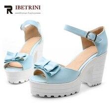 RIBETRINI fashion süß bowtie schuhe 2016 solide peep toe plattform dicken high heels sommer stilvolle sandalen big size 34-43
