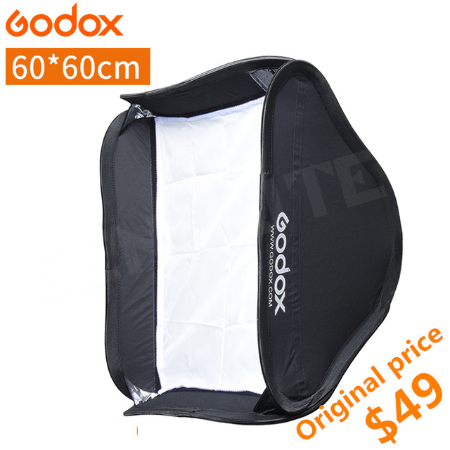 Godox 60*60cm Flash Diffuser Photo Studio Softbox Soft Box for Speedlite Flash Light without S-type Bracket Bowens Holder