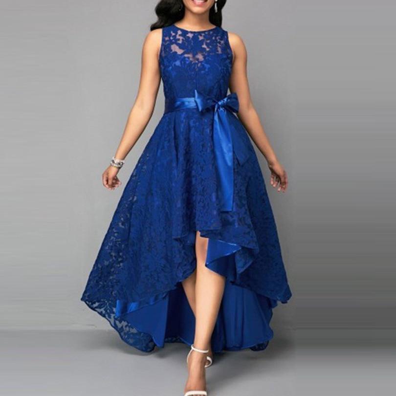 5XL Plus Size Irregular Lace Dress Bow Belt Long Maxi Dress Women Elegant Sleeveless Bodyc