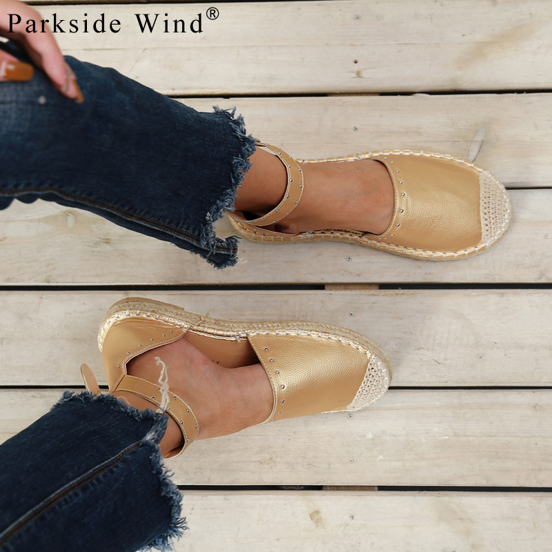 Parkside Wind Women Flats Shoes Round Toe Ankle Buckle Strap Espadrilles Fisherman Summer Casual Shoes Plus Size35-43 XWA3374-45