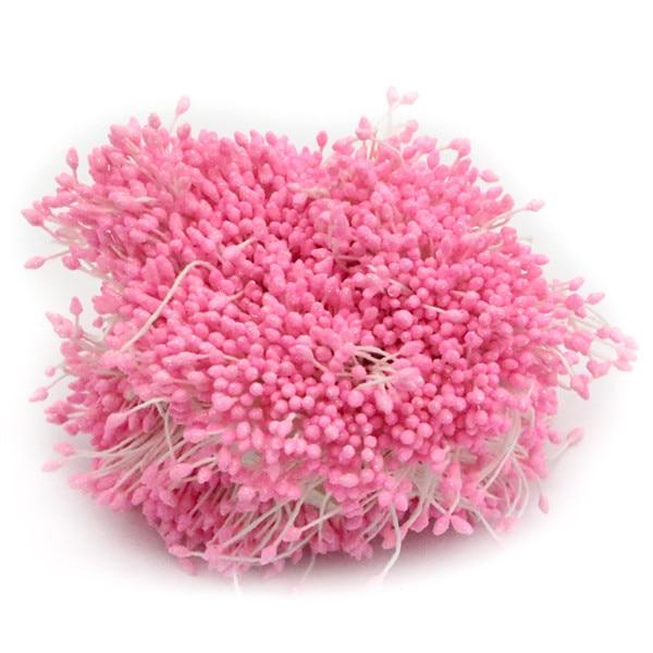 288 шт./лот, 3 мм, Двойные наконечники, разноцветные, с цветочным блеском, Stamen Pistil, свадебные украшения, сделай сам, C1102 - Цвет: Pink