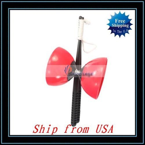 Free Shipping + 10pcs/lot Diabolo Juggling Spinning Red-W8002RE