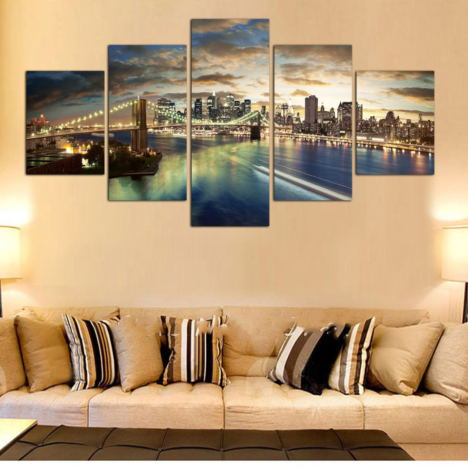 5 Panels Modern City Views Modular Picture Canvas Print Painting ...