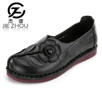 National Style Female Shoes Retro Hand Shoes Genuine Leather Soft Bottom Flats Large Size Casual Women