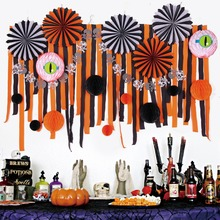 28pcs  Halloween Decoration Assorted Paper Pinwheels Crepe Streamers Backdrop Spooky Honeycomb Balls Banner Party Decor
