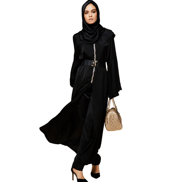 Moslim Islamitische Babalet 'elegante Lange Dubai Mouwen Rits OwP8nk0X