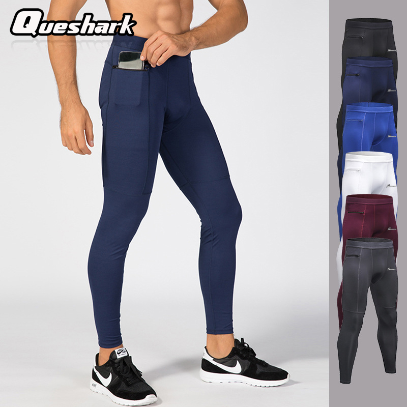 Queshark Leggings Compression-Pants Sports Tights-Pants Workout Men with Pocket Base-Layer title=