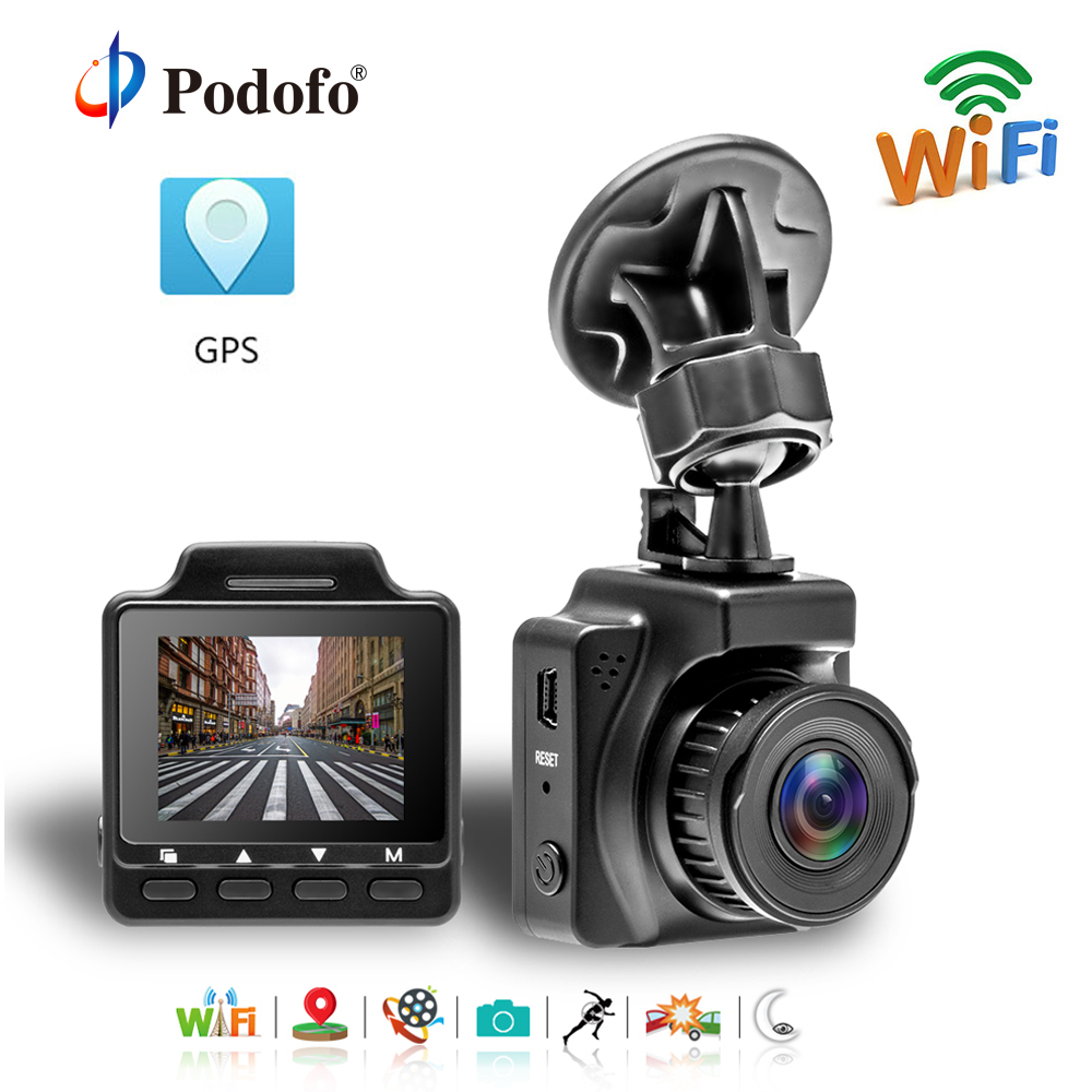 Podofo 1.5 Inch Mini Wifi Car DVR Novatek 96658 Video Registrator Dash Camera FHD 1080P GPS Video Recorder Automotive Dash Cam цена