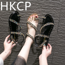 HKCP Rhinestone sandals womens summer 2019 new Korean edition non-slip student gladiator shoes sequin beach C033