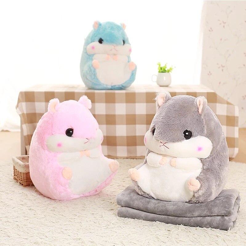 Oreiller en Peluche Forme en Hamster Coussin Cadeau pour Enfant Ami Brun