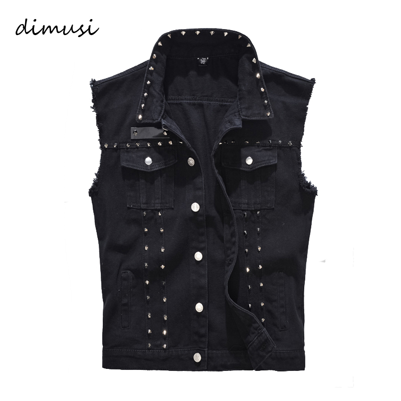 DIMUSI Spring Autumn Mens Vest Vintage Denim Jeans Vest Male Black Sleeveless Jackets Men Rivet Hole Jeans Waistcoats 5XL,TA338