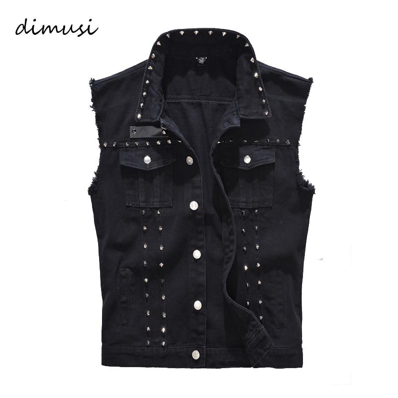 DIMUSI Spring Autumn Mens Vest Vintage Denim Jeans Vest Male Black Sleeveless Jackets Men Rivet Hole Jeans Waistcoats 5XL,TA338