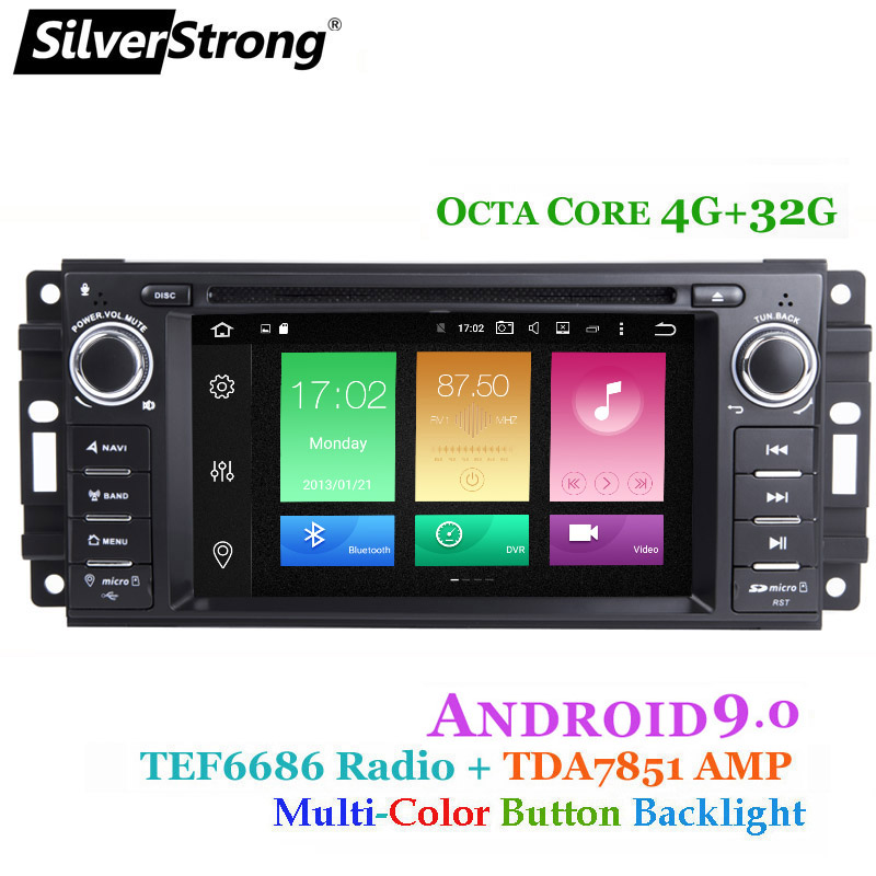 SilverStrong 8Core 4G 32G Android9 0 Car DVD for Jeep Cherokee 2009 2008 2010 Wrangler car