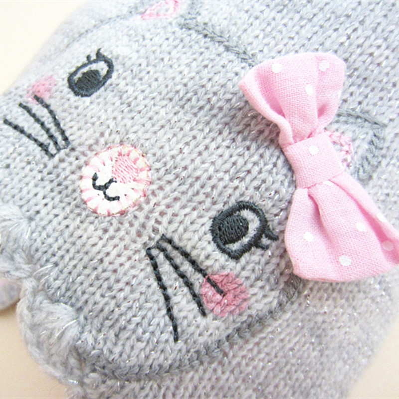 1pcs 2016 children winter Hat knitting hats girls grey hello kitty ...