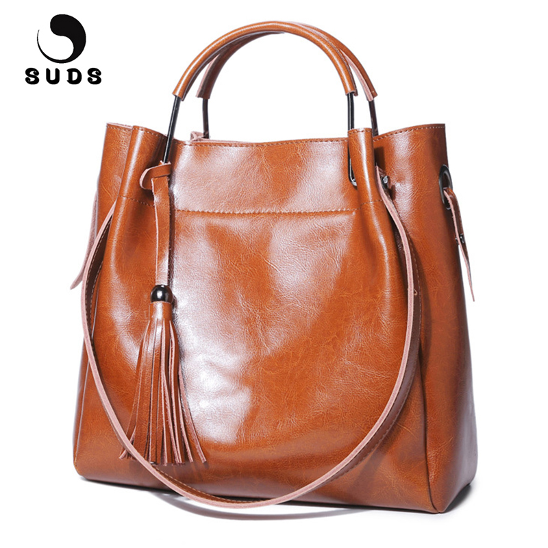 SUDS Brand Women Vintage Genuine Leather Handbags Designer High Quality Female Tassel Cow Leather Crossbody Bag Bolsa Feminina suds brand women casual 100