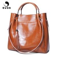 SUDS Brand Women Vintage Genuine Leather Handbags Designer High Quality Female Tassel Cow Leather Crossbody Bag