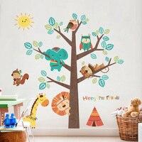 Animal Tree Wall Sticker Decals Children Kids Baby Room Nursery Bedroom Wall Stickers Home Decor Living Room Tree Wall Decor
