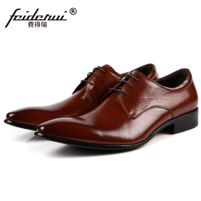 Fashion Pointed Toe Man Formal Dress Shoes Genuine Leather Male Oxfords Italian Pointed Designer Men's Wedding Bridal Flats EH33 vintage wine red men dress shoes genuine leather lace up business wedding male shoes retro man fashion pointed toe high heels