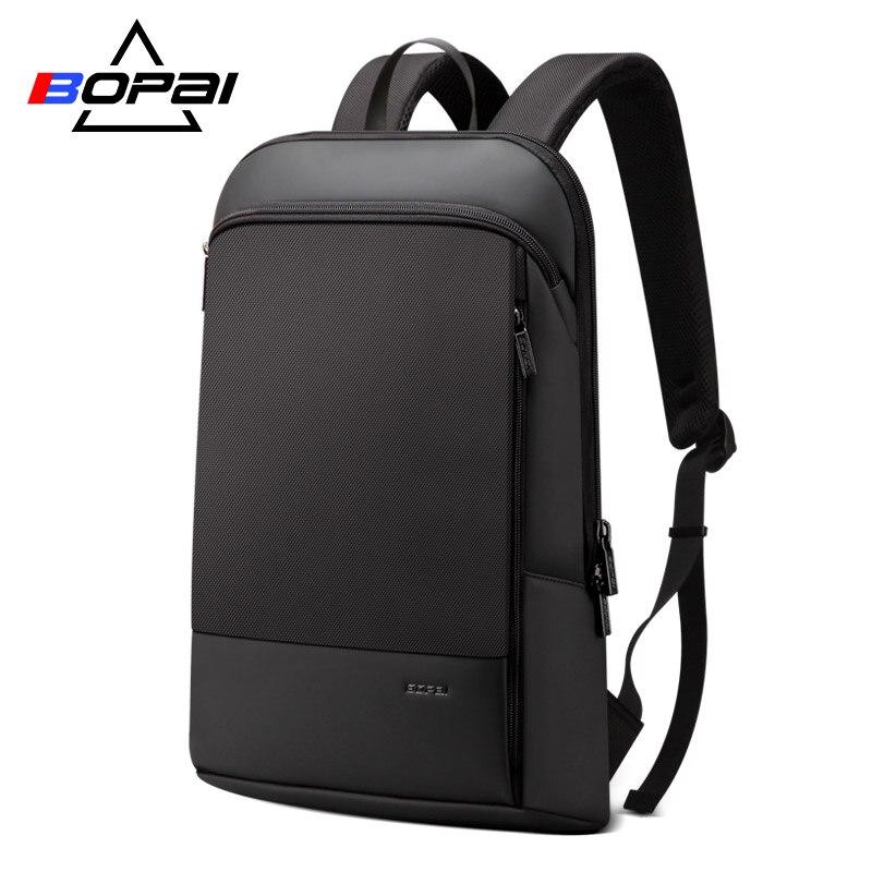 BOPAI Mince Hommes Sac À Dos Mince Ultra-Léger sac à dos pour ordinateur portable pour 15.6 pouces Mode Bureau Travail Étanche sac à dos d'affaires pour Hommes