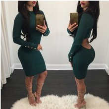 2017 pour Dames Solide Creux Out Party Night Club Dress vert Moulante Vestidos Mujer Manches Longues O Cou Femme Robe Vintage