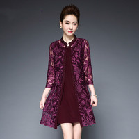 Middle Aged Women Two Piece Lace Dress Vestidos New 2018 Spring O neck 3/4 Sleeve Red Bodycon Midi Party Dresses Plus Size