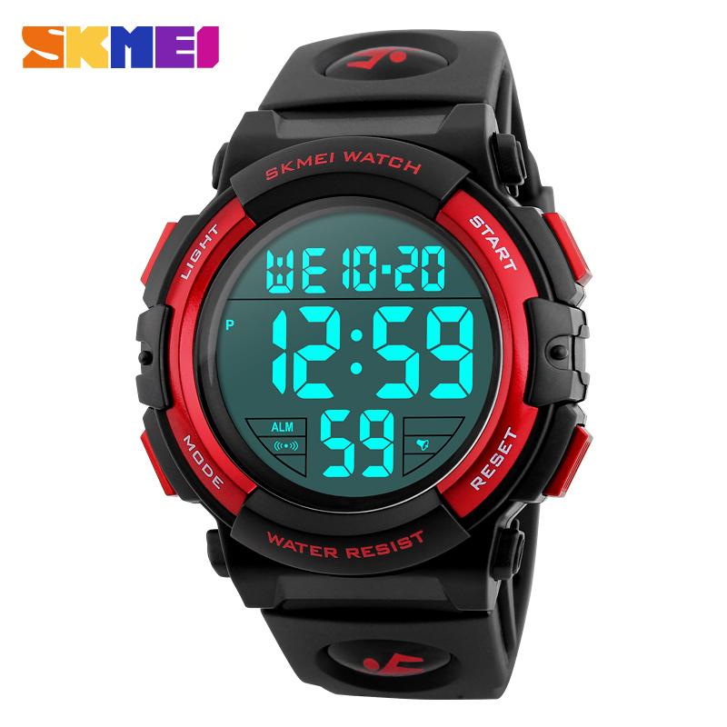 Prix pour Skmei 1258 hommes numérique montres grand cadran 50 m étanche chronographe mâle led horloges sports de plein air montres relogio masculino