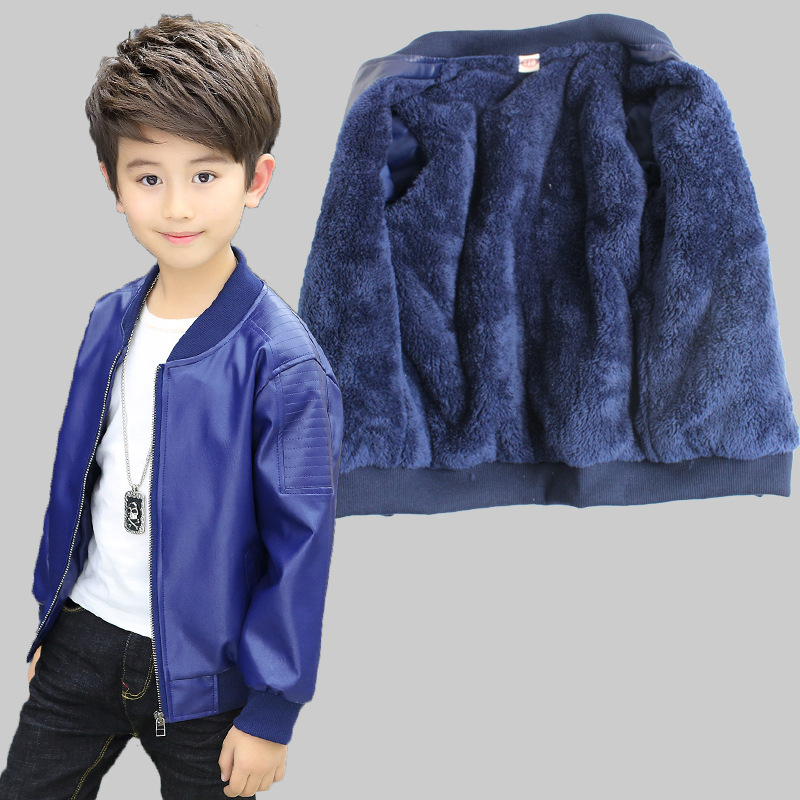 Kids Clothes Baby Boys Leather Jacket Child Autumn Winter Fashion O-neck Thick Jackets For Boy Coats Children Clothing 3jk132