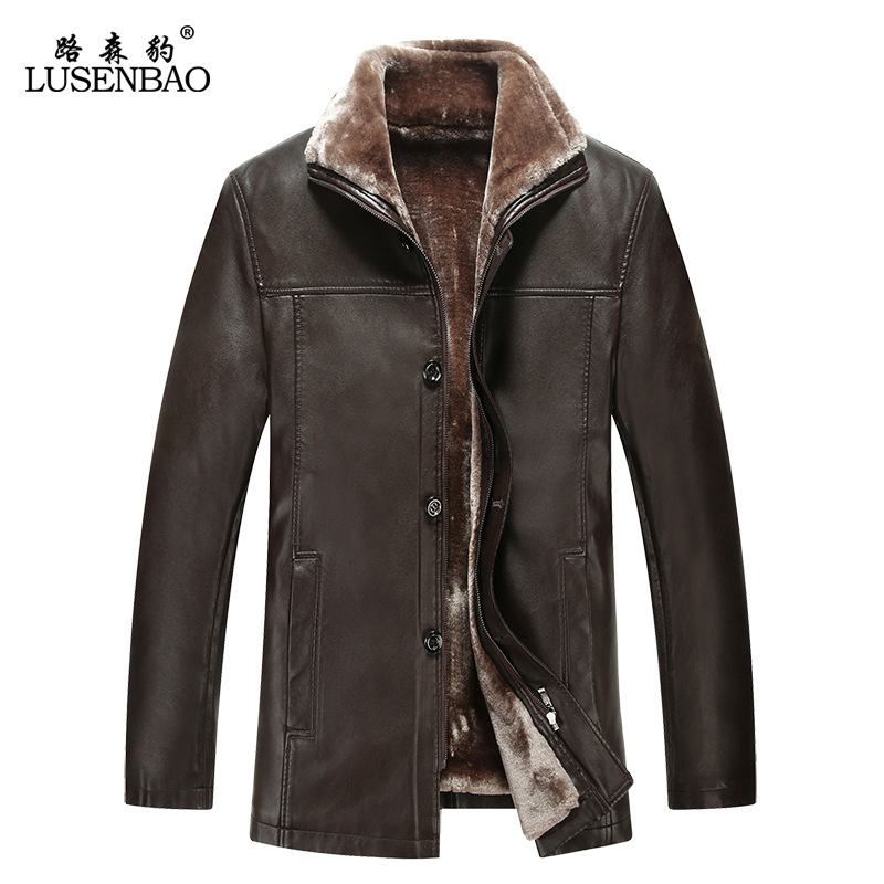 Real fur winter leather Coat mens leather jacket plus thick velvet mens warm wool fleece turn dowm collar Jaqueta de couro